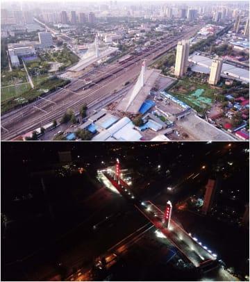 重さ8万トンの「空中バレエ」 回転斜張橋が接合完了 河北省保定市