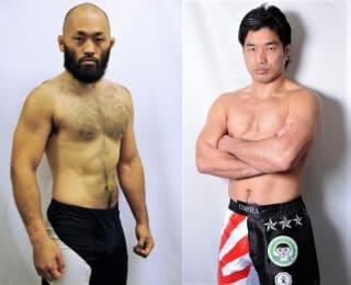 元UFCファイター安西(左)が5年ぶり国内団体参戦、第3代修斗環太平洋王者・佐藤(右)が迎撃