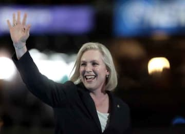 PHILADELPHIA, PA - JULY 25: Sen. Kirsten Gillibrand (D-NY) walks on stage to deliver remarks on the first day of the Democratic National Convention at the Wells Fargo Center, July 25, 2016 in Philadelphia, Pennsylvania. An estimated 50,000...