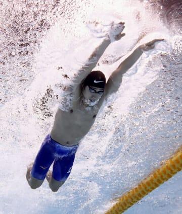 男子200メートル個人メドレー予選 萩野公介のバタフライ=東京辰巳国際水泳場