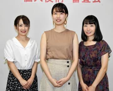 左から照姫役の小林さん、八重役の五十嵐さん、冬姫役の小野さん