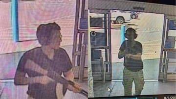 ライフルを手にウォルマートに侵入したパトリック・クルシウス容疑者の監視カメラの映像=3日、米南部テキサス州エルパソ(UPI=共同)