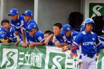 キューバとの3位決定戦に敗れベンチで肩を落とすU-12韓国代表【写真:工藤慶大】