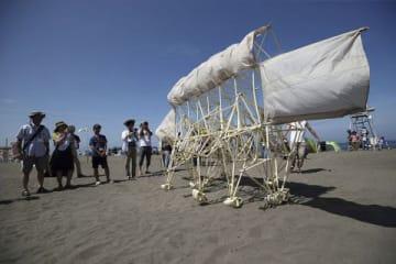観客が見守る中、砂浜をゆっくりと歩くストランドビースト