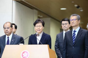 Carrie Lam meets the press on August 5. Photo: inmediahk.net.