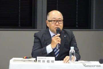決算を発表するスバルの岡田稔明専務