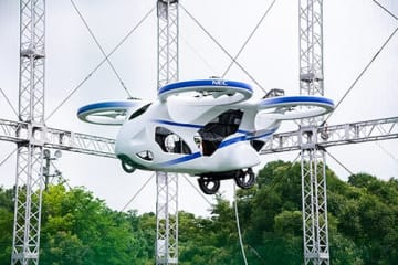 NECが開発した空飛ぶクルマの試作機(画像: NECの発表資料より)