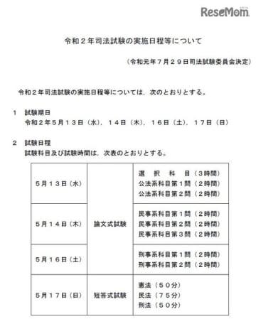 2020年司法試験の実施日程等について