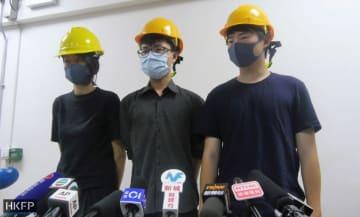 Mary Tsang (left), Linus Kim (centre) and Jerry Chan (right) – not their real names. Photo: Holmes Chan/HKFP.