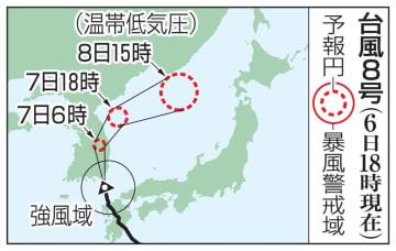 台風8号の予想進路(6日18時現在)