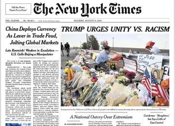 トランプ大統領の発言をそのまま見出しに取ったニューヨーク・タイムズの紙面=6日(ニューヨーク・タイムズ・AP=共同)