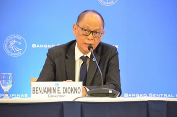 BSP Governor Benjamin Diokno during the announcement of the 25 basis point rate cut at the central bank's May 9 meeting.