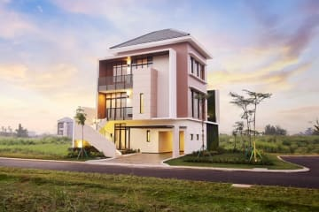 An artist's conception of a detached house to be sold by Sumitomo Forestry Co. in Indonesia. (Photo courtesy of Sumitomo Forestry)