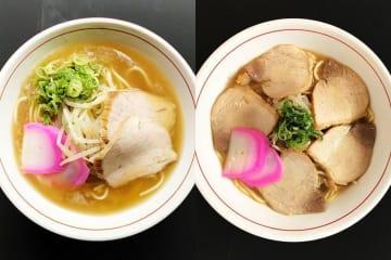 写真を拡大 小松島中華(左)は小550円、大650円。小松島中華肉入は小750円、大850円