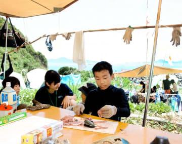 御五神島での共同生活で、自分たちで捕まえた魚をさばく子どもら