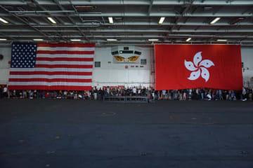 The USS Ronald Reagan during a visit to Hong Kong. Photo: Kris Cheng/HKFP.