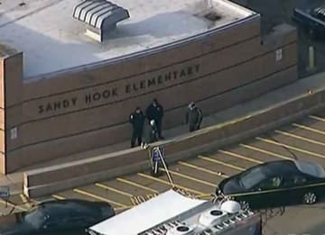 Police at Sandy Hook Elementary after mass shooting