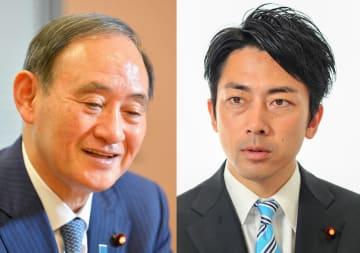 菅官房長官(左)と小泉進次郎氏