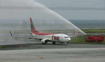 運休が発表されたティーウェイ航空の大分―ソウル線=2014年9月24日、大分空港