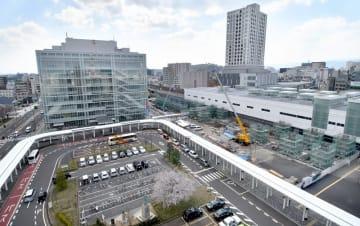 福井県福井市のJR福井駅東口一帯。2023年春には新幹線福井駅舎も加わる=2019年4月撮影