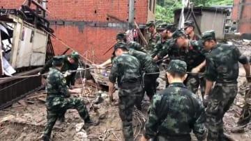 浙江省永嘉県で土砂ダム決壊 18人死亡、14人不明 台風9号被害