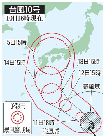 台風10号の5日先予想進路(10日18時現在)
