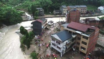 台風9号被害 浙江省永嘉県の土砂災害、死者22人に