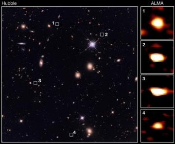 左が、今回観測をした領域のハッブル宇宙望遠鏡による画像。それぞれ何も写っていない場所に、アルマ望遠鏡では巨大星形成銀河の画像(右側)が撮影された。(c) 東京大学/CEA/国立天文台