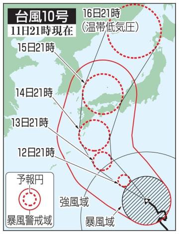 台風10号の5日先予想進路(11日21時現在)
