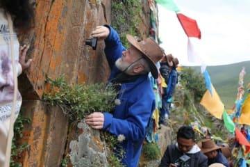 国内外の専門家、四川省で青海チベット高原の古代岩面画を調査