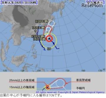 2019年8月13日午前6時現在の台風10号の経路図