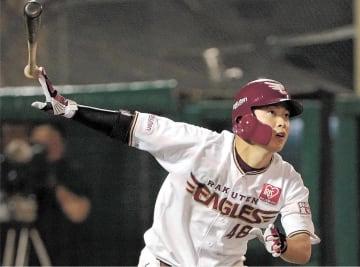 10回東北楽天2死一塁、渡辺佳が右翼線へサヨナラ適時二塁打を放つ(佐藤琢磨撮影)