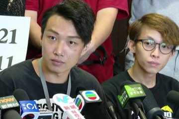 Jimmy Sham (left). Photo: RTHK Screenshot.