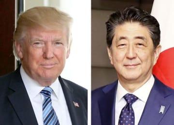 トランプ米大統領(ゲッティ=共同)、安倍晋三首相