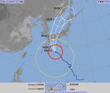 8月13日午後6時時点の台風10号の経路図(気象庁ホームページより)