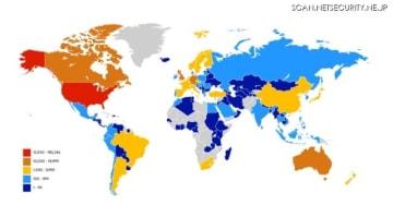 稼働中のBIG-IPの分布図。約60%は米国に設置されている