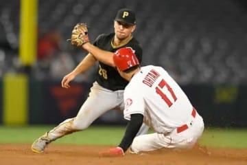今季10個目となる盗塁を成功させたエンゼルス・大谷翔平【写真:Getty Images】