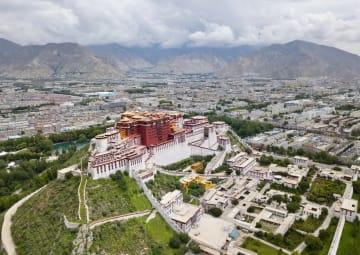 空から見たラサ チベット自治区