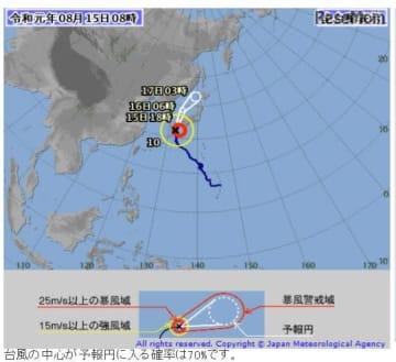 2019年8月15日午前8時現在の台風第10号の経路図