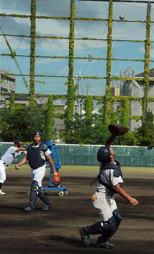試合当日の強風に備え、フライ捕球を練習する光星ナイン=14日、兵庫県西宮市