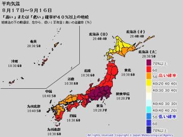 1か月予報(平均気温)。出典:気象庁ホームページ