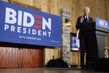 米中西部アイオワ州の集会に参加したバイデン前副大統領=7日(AP=共同)