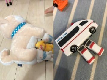 2歳児の愛らしい発想にハートを鷲づかみにされる人が続出した画像(はがんさんの画像を1枚に合成しています)