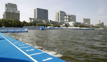 水質悪化でスイムが中止になったパラトライアスロンW杯のコース=17日、東京・お台場海浜公園