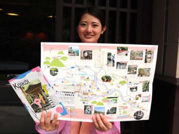 【若い女性向けに作った散策マップ=菰野町の湯の山温泉で】