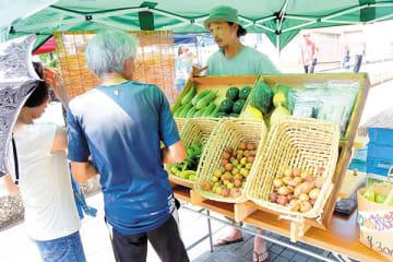 採れたての夏野菜を販売する農家=小川町大塚