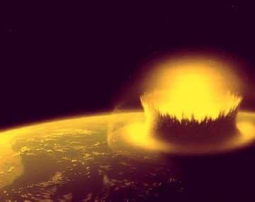地球に巨大な小惑星が衝突したイメージ図 (c) NASA with modifications by Stephen Mojzsis
