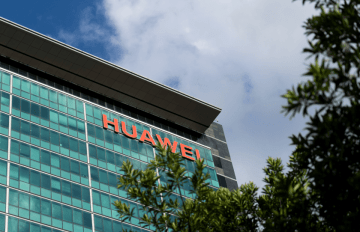 The outside of one of Huawei's buildings on July 30, 2019 in Shenzhen. (Image credit: TechNode/Shi Jiayi)