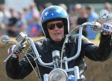 Peter Fonda Super Bowl: CHICHESTER, ENGLAND - JULY 14: Actor Peter Fonda of United States rides at the Goodwood Festival of Speed on July 14, 2013 in Chichester, England. (Photo by Andrew Hone/Getty Images)