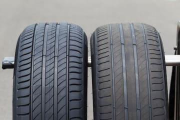 ミシュラン プライマシー4の新品タイヤ(左)と摩耗タイヤ(右)